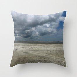 Dramatic Sky Over Golden Isles Beach Throw Pillow