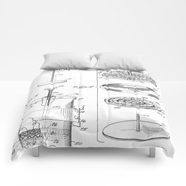 Coffee Filter Patent - Coffee Shop Art - Black And White Comforters