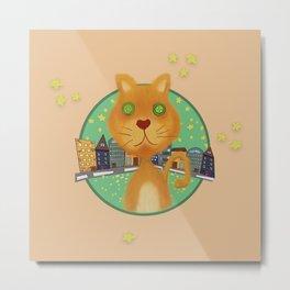 City Ginger Cat - Wacky cat Metal Print