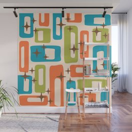 Retro Mid Century Modern Abstract Pattern 921 Orange Chartreuse Turquoise Wall Mural