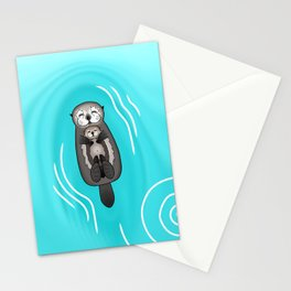 Mother and Pup Sea Otters - Mom Holding Baby Otter Stationery Cards