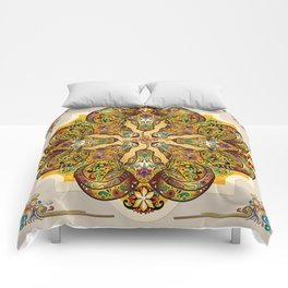 Mandala Sacred Rams - Bright Version Comforters