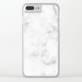 The Perfect Classic White with Grey Veins Marble Clear iPhone Case