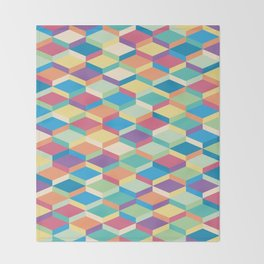 Colorful Squares Pattern Throw Blanket