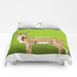Deer with green Background Comforters