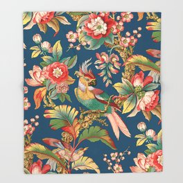 Antique French Chinoiserie in Blue Throw Blanket