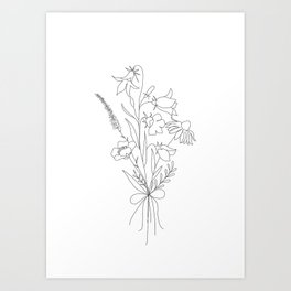 Small Wildflowers Minimalist Line Art Art Print