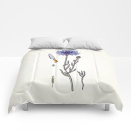 blue cornflower and knife Comforters