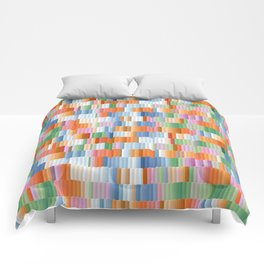 Fire, Earth, Air, and Water Colored Block Pattern Comforters