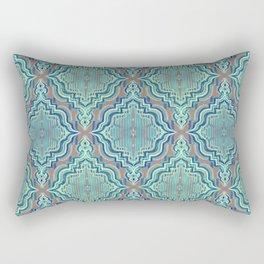 Marker Moroccan in Aqua, Cobalt Blue, Taupe & Teal Rectangular Pillow