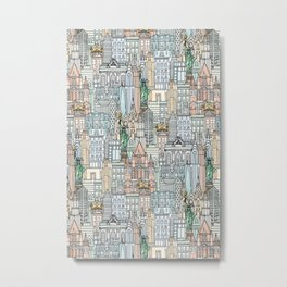 New York watercolor Metal Print