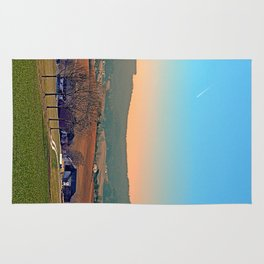 Avenue with trees, sunset and panorama | landscape photography Rug
