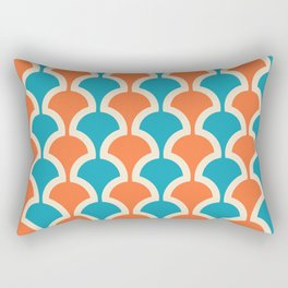 Classic Fan or Scallop Pattern 429 Orange and Turquoise Rectangular Pillow