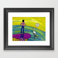 Riflettendo con la mia oca. Framed Art Print