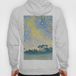 Henri-Edmond Cross Neo-Impressionism Pointillism Landscape with Stars Watercolor Painting Hoody