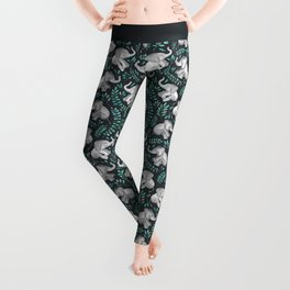 Laughing Baby Elephants – emerald and turquoise Leggings