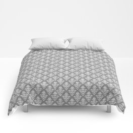 Damask Pattern | Grey and White Comforters