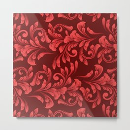 Monochrome Red Garland - Vintage Inspired Holiday Pattern Metal Print