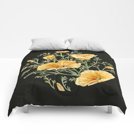 California Poppies on Charcoal Black Comforters
