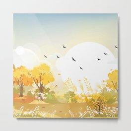 Windy Autumn Day Metal Print