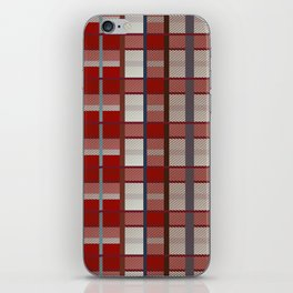 Retro red, blue, white and orange plaid pattern iPhone Skin