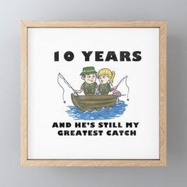 Anniversary 10 Couple Fishing Wife Husband Gift Framed Mini Art Print