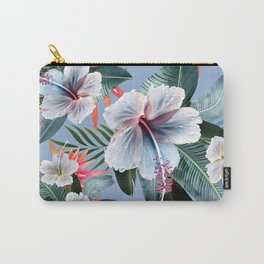 Hawaii, tropical hibiscus vintage style blue dream palm leaves Carry-All Pouch