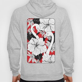 Flamingos and tropical flowers and leaves Hoody