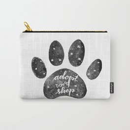Adopt don't shop galaxy paw - black and white Carry-All Pouch