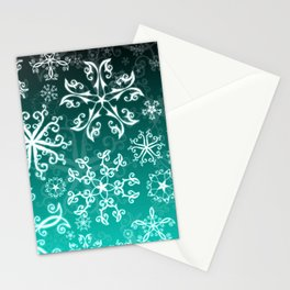 Symbols in Snowflakes on Winter Green Stationery Cards