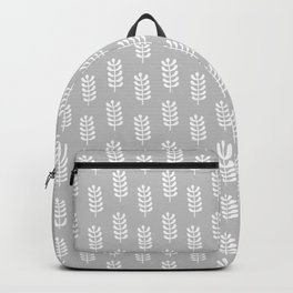 Light grey background with white spring leaves pattern Backpack