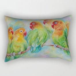 LOVE BIRDS Wildlife Tropical Parrots painting Pastel colors decor for bird lover Rectangular Pillow