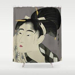 Utumaro #1 Gray Shower Curtain