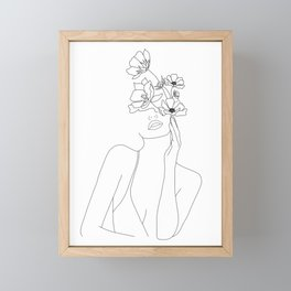Minimal Line Art Woman with Flowers Framed Mini Art Print