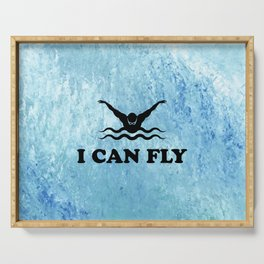 Yes, I Can Fly. Swimming Butterfly Swimmer Cool Sports design Serving Tray