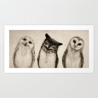 Art Prints featuring The Owl's 3 by Isaiah K. Stephens