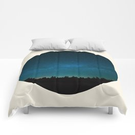Forest Silhouette Against Milky Way Blue Star Sky Comforters