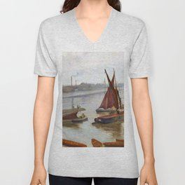 James McNeill Whistler - Grey and Silver, Old Battersea Reach - Digital Remastered Edition Unisex V-Neck