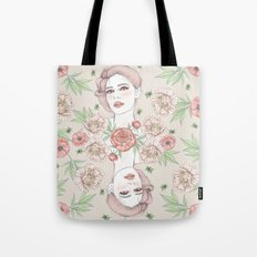 Woman with flowers and beetles Tote Bag