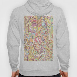 Abstract pink yellow teal hand painted bohemian feathers Hoody