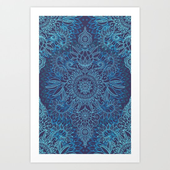 Aqua, Cobalt Blue & Purple Protea Doodle Pattern Art Print