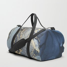 Blush, Payne's Gray and Gold Metallic Abstract Duffle Bag