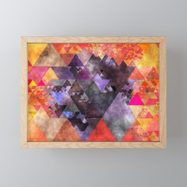 Abstract fire red yellow blue Triangle pattern - Watercolor Illustration Framed Mini Art Print