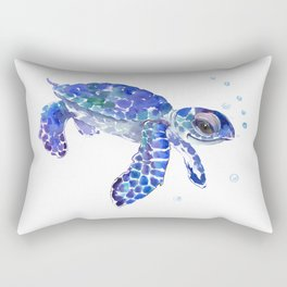 Cute Blue Baby Sea Turtle. children illustration, turtle art Rectangular Pillow