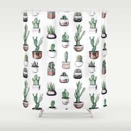 Cactus + Succulents Rose Gold Pattern by Nature Magick Shower Curtain