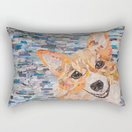 corgi on blue background Rectangular Pillow