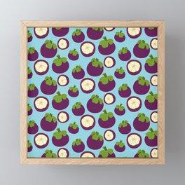 Tropical mangosteen fruit pattern on the blue background Framed Mini Art Print