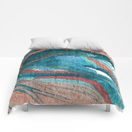 Somewhere New: a colorful abstract piece in pinks and greens Comforters