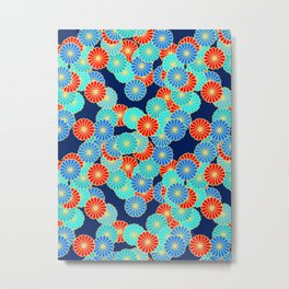 Art Deco Stylized Flower Pattern Blue, Turquoise and Red Metal Print