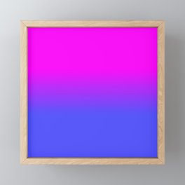 Neon Blue and Hot Pink Ombré Shade Color Fade Framed Mini Art Print